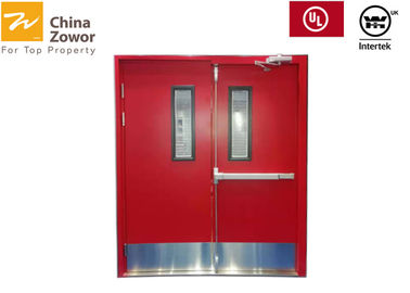 Double Swing 45 mm Steel FD60 Fire Door With Glass /  1 hr Fire Door / Red Color